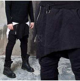 Mesh Pattern Asymmetric Skirt Layered Black Sweatpants 223