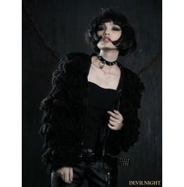 Y 386 Black Gothic Wool Short Coat For Women