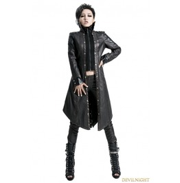 Y 422 Black Bronze Gothic Punk Embroidery Leather Long Coat For Wome