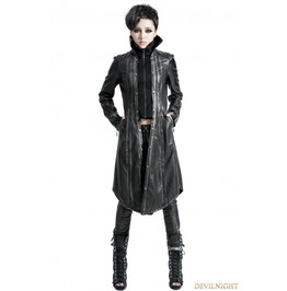 Y 422 Black Silver Gothic Punk Embroidery Leather Long Coat For Women