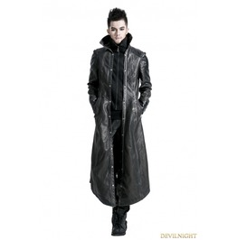 Y 422 M Black Silver Gothic Punk Embroidery Leather Long Coat For Men