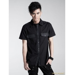 Y 437 Black Gothic Men Punk Basic Short Sleeves Shirt