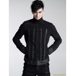 Y 446 Black Gothic Men Coarse Cotton Rope Spell Leather Coat