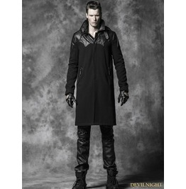 Y 473 Black Gothic Spell Leather Long Coat For Men