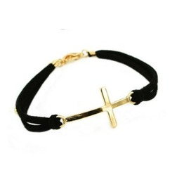 Simple Leather Strap Gold Cross Bracelet