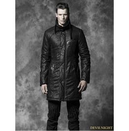 Y 482 Black Gothic Crack Wash Long Coat For Men