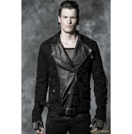 Y 486 Black Gothic Mix Match Style Short Coat For Men