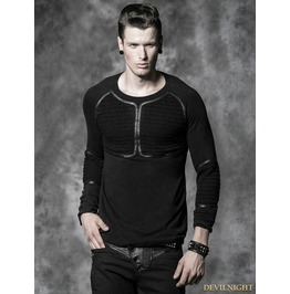 Y 490 Black Gothic Men Basic Long Sleeves Woolen Shirt
