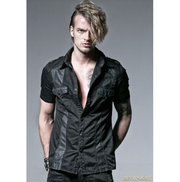 Y 529 Black Gothic Punk Male Splicing Short Sleeves Shirt