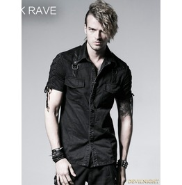 Y 530 Black Gothic Punk Male Rope Tieing Short Sleeves Shirt