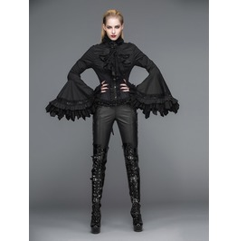 Gothic Trumpet Sleeves Bow Neck Black Top