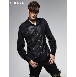 Y 563 Black Gothic Spliced Leather Vintage Male Long Sleeves Shirt