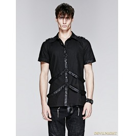 Y 575 Black Gothic Man Short Sleeves Shirt With Leather Loops