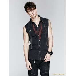 Y 576 Black Gothic Demin Shirt With Drops Of Blood Pattern For Men