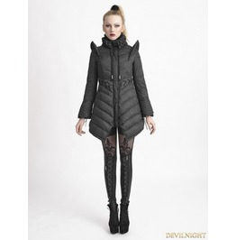 Y 616 Black Gothic Flying Sleeves Long Down Coat For Women