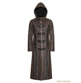 Y 760 F Dark Coffee Gothic Retro Style Leather Overlength Coat For Women