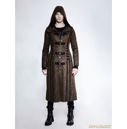 Y 760 Dark Coffee Gothic Retro Style Leather Overlength Hoodie Coat For Men