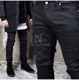 Multiple Knife Cut Accent Coated Black Skinny Jeans 253
