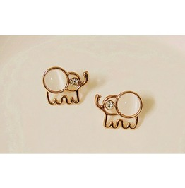 Lovely Beige Opal Rhinestone Elephant Stud Earrings