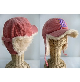 New Lady Pink Corduroy Flap Cap Faux Fur Inside In The Flap Hat Free Size