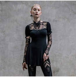 Gothic Embroidered Lace Sleeves Black Top