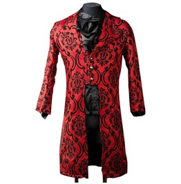 Mens Red Jacquard Victorian Gentleman Tailcoat $9 To Ship Worldwide