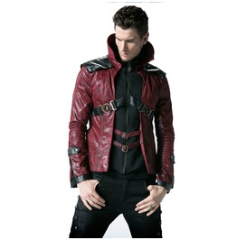 Mens Black Or Red Punk Rave Steampunk Jacket Sizes Up To 3 Xl $9 To Ship