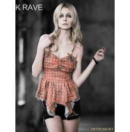 Y 527 Or Orange Gothic Lolita Summer Sweety Style Plaid Camisole