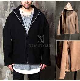 Side Zipper Accent Loose Fit Zip Up Hoodie 112