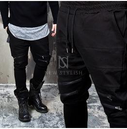4 Zipper Accent Black Drawcord Sweatpants 224