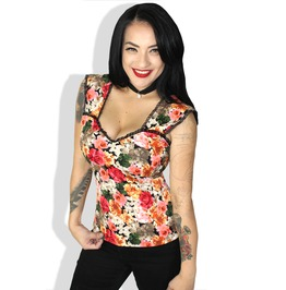 Sexy Rose Pinup Vintage Ruffled Rockabilly Gothic Steampunk Tank Top
