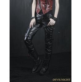 K 131 Black Gothic Leather Rivet Pants For Women