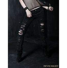 K 134 Black Gothic Punk Denim Trousers