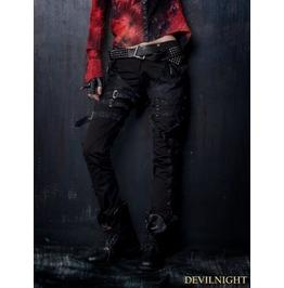K 109 Black Gothic Punk Belt Pants For Women