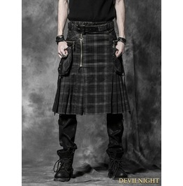 Q 225 Bb Plaid Gothic Punk Skirt For Men