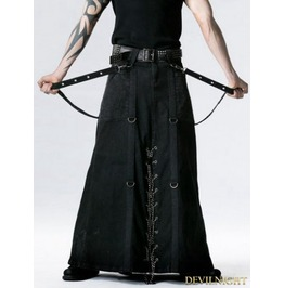 Q 237 Black Gothic Punk Heavy Metal Long Skirt For Men