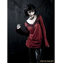 T 272 Br Red Gothic Punk Pin T Shirt For Women