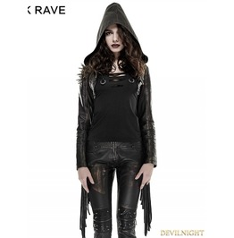 Y 667 Gothic Punk Tassel Short Coat With Hooded For Women