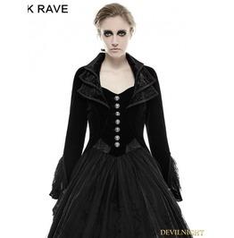 Y 658 Vintage Black Velvet Gothic Long Coat For Women