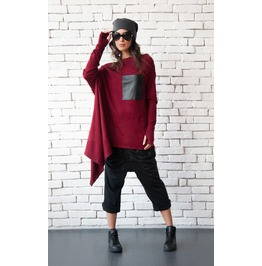 Burgundy Loose Tunic/Long Sleeve Extravagant Top/Black Leather Pocket Tunic