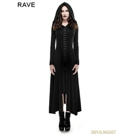 Q 290 Black Gothic Long Knit Hooded Dress