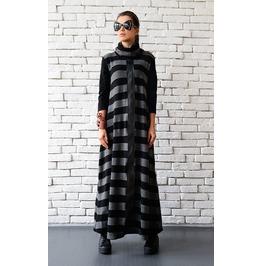 Stripe Maxi Dress/Loose Grey And Black Kaftan/Oversize Dress/Polo Dress