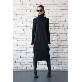 Long Loose Dress/Black Maxi Dress/Long Sleeve Oversize Tunic/Casual Dress