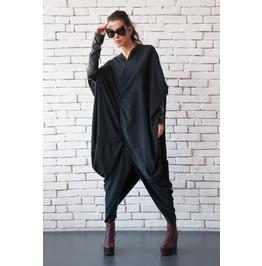 Extravagant Asymmetric Dress/Long Loose Kaftan/Maxi Black Dress/Leather Top
