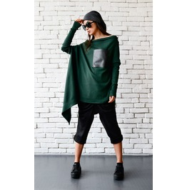 Green Maxi Tunic/Extravagant Loose Top/Long Sleeve Oversize Shirt/Dark Gree