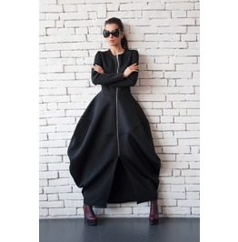 Black Neoprene Dress/Long Coat/Asymmetric Maxi Dress/Victorian Dress