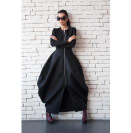 Black Neoprene Dress/Long Coat/Asymmetric Maxi Dress/Victorian Dress