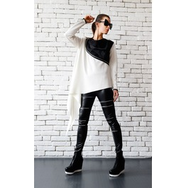 White Loose Top/Extravagant Black And White Tunic/Zipper Jacket/White Top