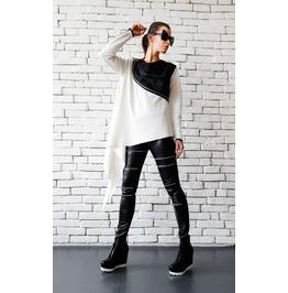 White Loose Top/Extravagant Black And White Tunic/Zipper Jacket/White Top