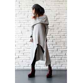 Grey Long Tunic/Extravagant Tunic Dress/Asymmetric Grey Top/Oversize Dress